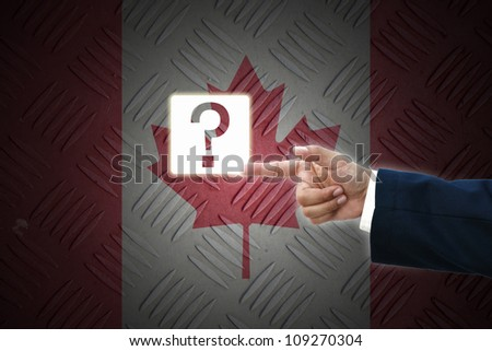 business hand selecting business icon on old Canada flag background.