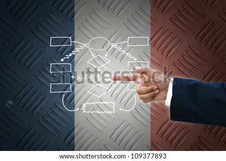 business hand selecting business icon on old France flag background.