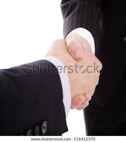 Business hand shake on white background - stock photo