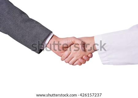 business hand shake with scientist
