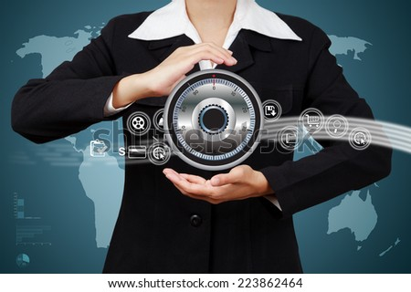 business hand show a protection business data on network. - stock photo
