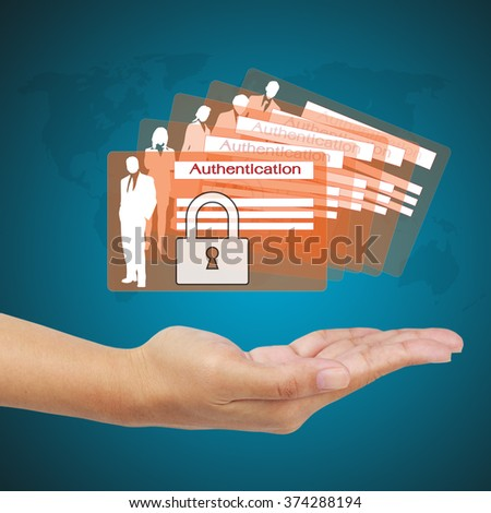 Business hand showing concept of business security on virtual screen. - stock photo