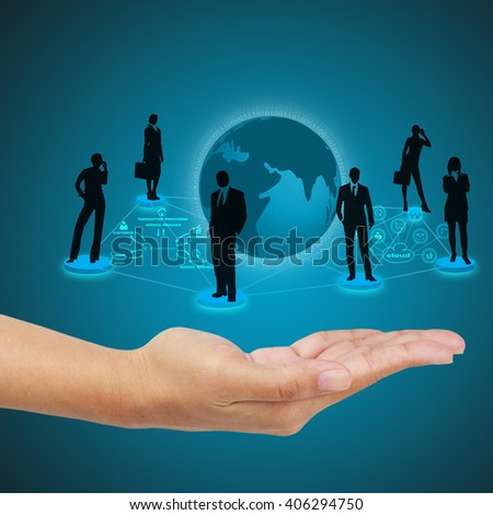 Business hand showing concept of online transactions on virtual screen. - stock photo