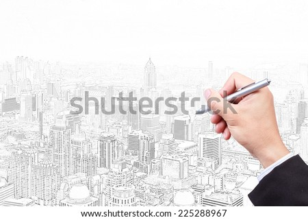 business hand sketch construction project
