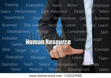 Business hand touch Human Resource Concept