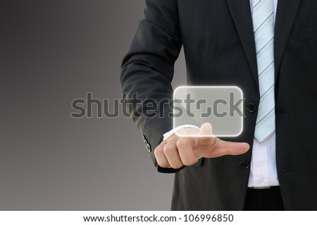 Business hand touch screen button - stock photo