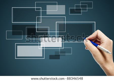 Business hand touch screen interface