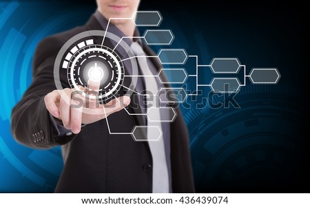 Business hand touch screen interface flow chart - stock photo
