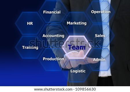Business hand touch team network, present teamwork concept - stock photo