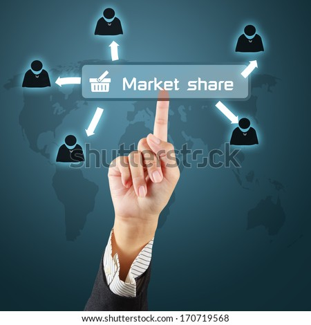 Business hand touching a button of market share concept on virtual screen. - stock photo