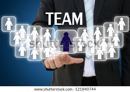 Business hand touching team for organization concept - stock photo