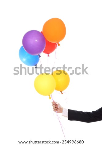business hand with colorful balloons isolated on a white background - stock photo