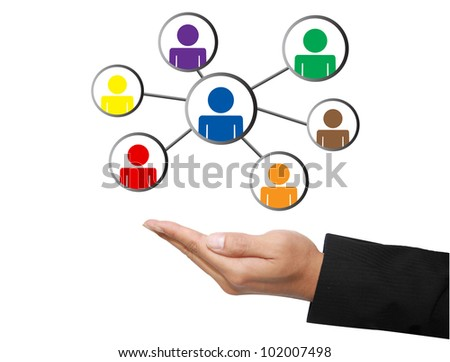 business hand with social network - stock photo