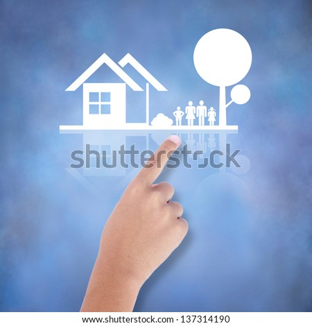 business hand with the family house icon - stock photo