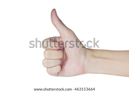 Business hand with thumb up , Good Great Perfect , isolated on white background
