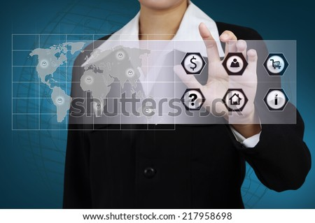 Business hand with word contact on virtual screen. - stock photo