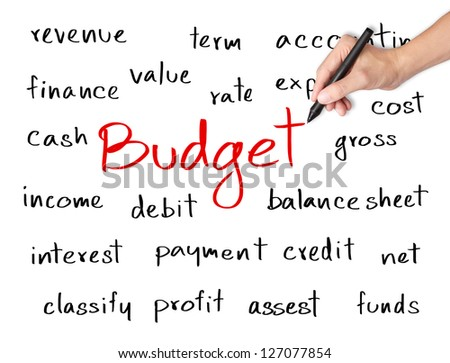 business hand writing accounting concept of budget - stock photo