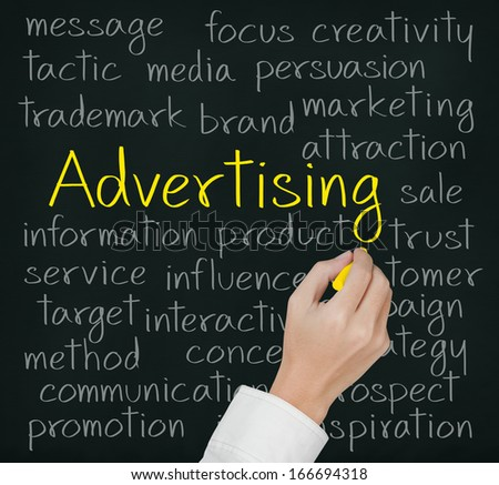 business hand writing advertising concept