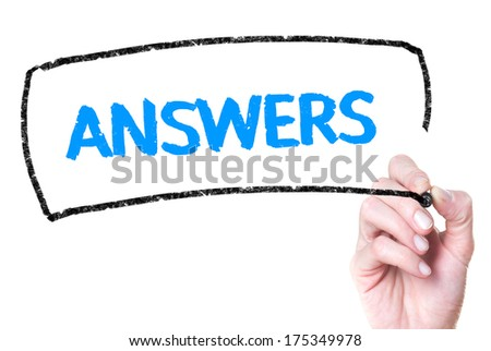 Business hand writing Answers on glass - stock photo