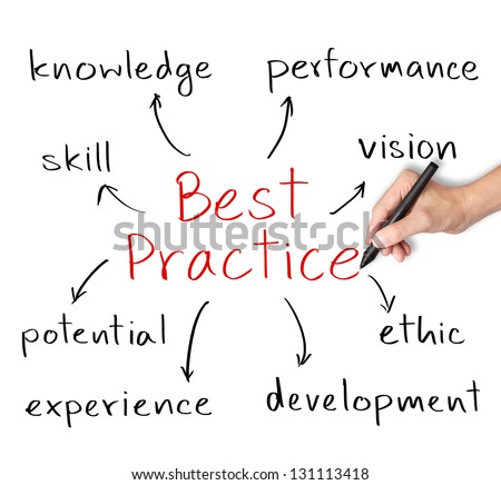 business hand writing best practice concept - stock photo