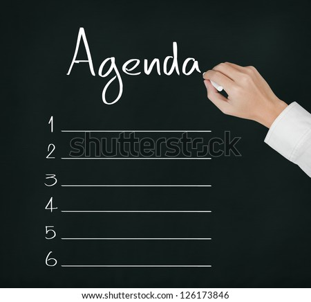 Business Hand Writing Blank Agenda List Stock Photo