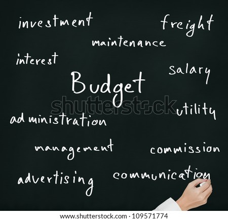 business hand writing budget allocation concept