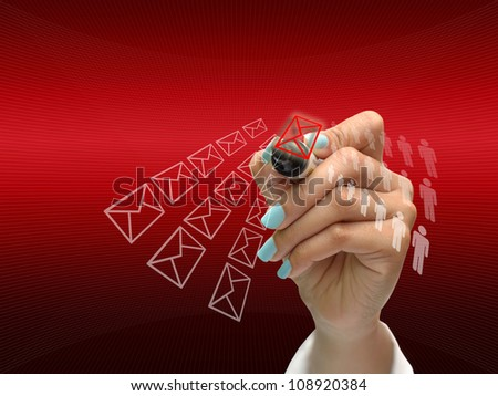 business hand writing business icon on red abstract background.