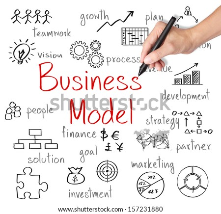 business hand writing business model concept