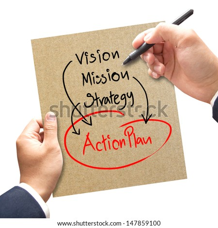 business hand writing business process concept ( vision - mission - strategy - action plan ) - stock photo
