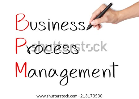 business hand writing business process management ( BPM ) - stock photo