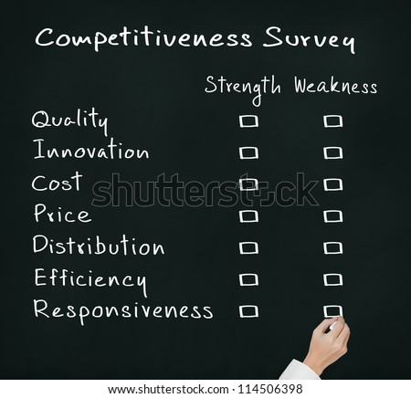 business hand writing competitiveness survey form of business strength and weakness ( quality, innovation, cost, price, distribution, efficiency, responsiveness )
