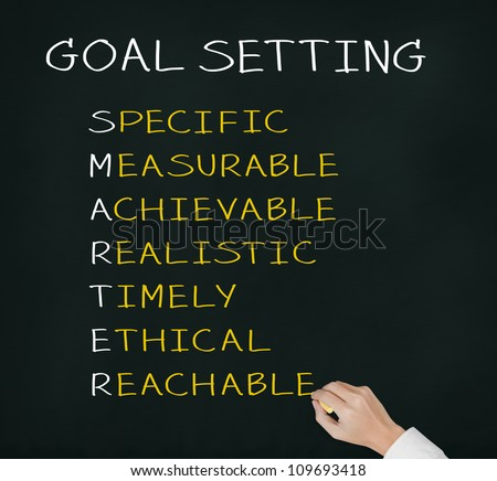 business hand writing  concept of smarter goal or objective setting - specific - measurable - achievable realistic - timely - ethical - reachable - stock photo