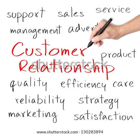 business hand writing customer relationship concept