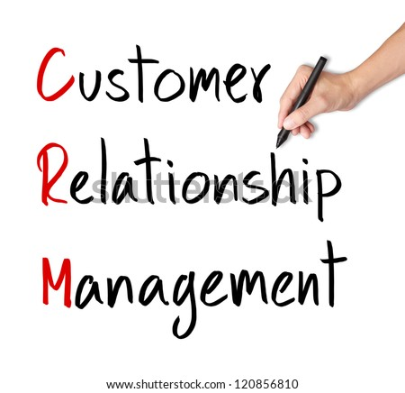 business hand writing customer relationship management ( crm ) concept - stock photo