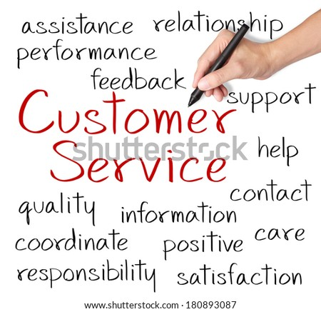 business hand writing customer service concept