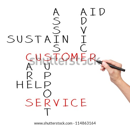 business hand writing customer service concept by crossword of assist - aid - advice - care - help - sustain - support - stock photo