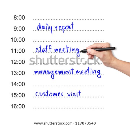 business hand writing daily appointment schedule