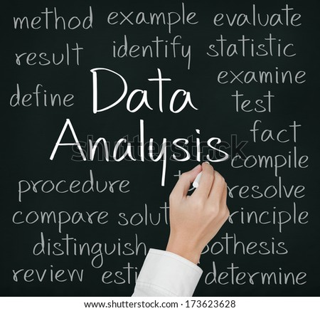 business hand writing data analysis concept