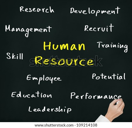 business hand writing human resource concept
