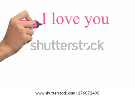 Business hand writing I love you concept  - stock photo