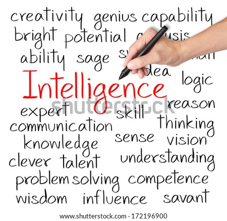 business hand writing intelligence concept