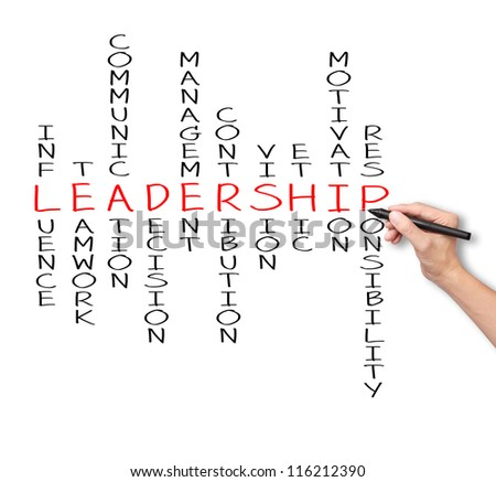 business hand writing leadership skill concept by crossword of influence - teamwork - communication - decision - management - contribution - vision - ethic - motivation - responsibility - stock photo