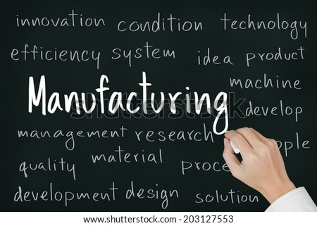 business hand writing manufacturing on chalkboard