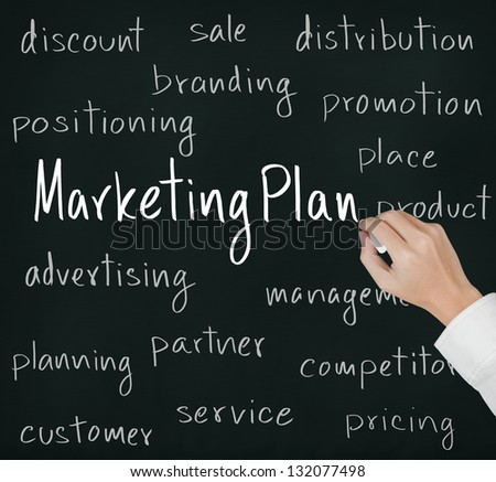 business hand writing marketing plan concept