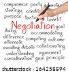 business hand writing negotiation concept - stock photo