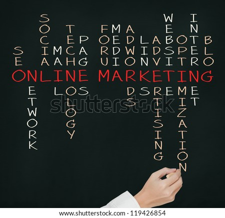 business hand writing online marketing  concept by crossword - stock photo