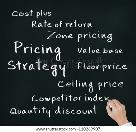 business hand writing pricing strategy of marketing concept
