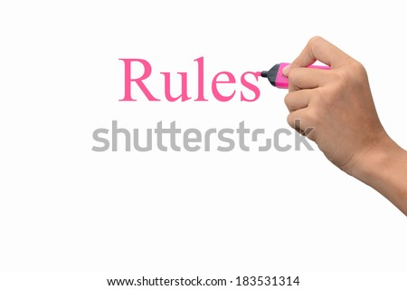 Business hand writing Rules concept