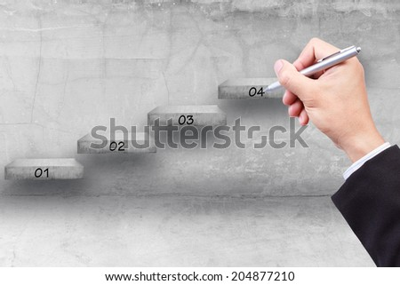 business hand writing step by step of business to success  - stock photo