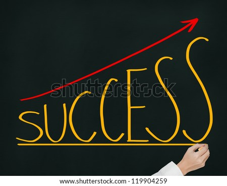 business hand writing success graph